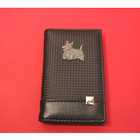 Scottish Terrier on Faux Carbon Fibre Black Note book & Pen