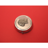 Long Haired Cat Pewter Motif On Round Chrome Mint / Pill Box