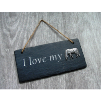 Grazing Pony Design Slate Plaque Valentine Christmas Gift