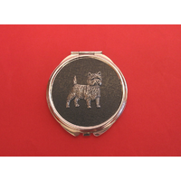 Cairn Terrier on Black Round Compact Mirror Useful Gift