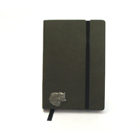 Long Haired Cat A6 Olive Green Journal Notebook Cat Gift