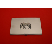 Grazing Pony Chrome Plated Business or Credit Card Holder