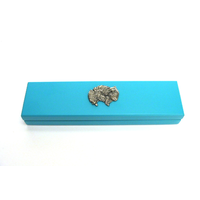 Pomeranian Motif on Turquoise Wooden Pen Box with 2 Pens