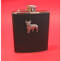 French Bulldog 6oz Black Leather Hip Flask Dog Gift