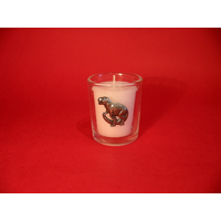 Dinosaur Motif On Glass Votive Candle Holder Xmas Gift