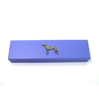Greyhound Motif on Violet Blue Wooden Pen Box with 2 Pens