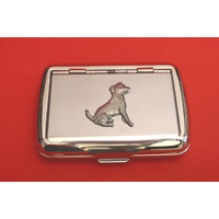 Jack Russell Terrier Motif on Polished Stainless Steel Tobacco T