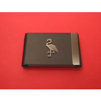 Flamingo Pewter Motif on Black Card Holder Christmas Gift
