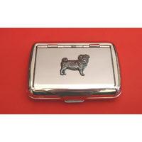Pug Dog Motif on Polished Stainless Steel Tobacco Tin