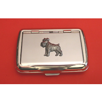 Miniature Schnauzer Motif Polished Stainless Steel Tobacco Tin