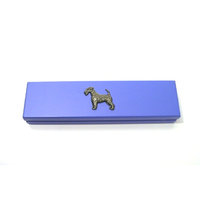 Airdale Terrier on Violet Blue Wooden Pen Box with 2 Pens
