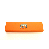 Grazing Pony Motif on Apricot Wooden Pen Box with 2 Pens