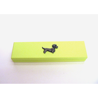 Dandie Dinmont Motif on Lime Wooden Pen Box with 2 Pens