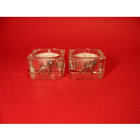 Beagle Motif On Square Glass Tea Light Holders Xmas Gift