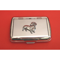 Dachshund Dog Motif on Polished Stainless Steel Tobacco Tin