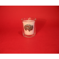 Pomeranian Motif On Glass Votive Candle Holder Xmas Gift