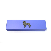 Australian Shepherd Dog on Violet Blue Wooden Pen Box with 2 Pen