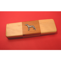 Greyhound on Wooden Pen Box with 2 Pens