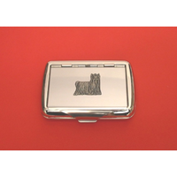 Yorkshire Terrier Motif on Polished Stainless Steel Tobacco Tin