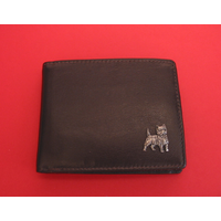 Cairn Terrier Design Real Leather Dark Brown Wallet Gents Gift
