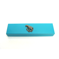 Dinosaur Motif on Turquoise Wooden Pen Box with 2 Pens