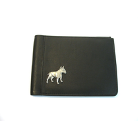 English Bull Terrier Design Real Leather Black Passport Holder