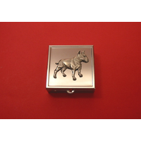 English Bull Terrier On Sq. Mint / Pill Box W/ Vanity Mirror