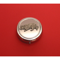 Border Collie Pewter Motif On Round Chrome Mint / Pill Box
