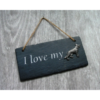 German Shepherd Design Slate Plaque Valentine Christmas Gift