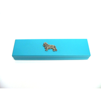 King Charles Motif on Turquoise Wooden Pen Box with 2 Pens
