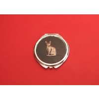 Short Haired Cat on Black Round Compact Mirror