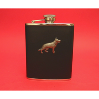 German Shepherd 6oz Black Leather Hip Flask Dog Gift