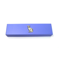 Short Haired Cat Motif on Violet Blue Wooden Pen Box with 2 Pens