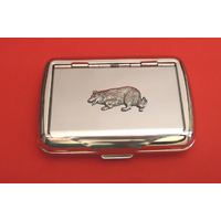 Border Collie Motif on Polished Stainless Steel Tobacco Tin
