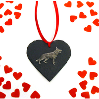 German Shepherd Design Slate Heart Valentine Christmas Gift