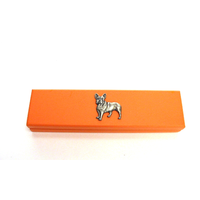 French Bulldog Motif on Apricot Wooden Pen Box with 2 Pen