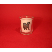 Cockapoo Motif On Glass Votive Candle Holder Xmas Gift