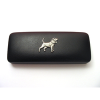 Beagle Pewter Motif on Black Faux Leather Glasses Case