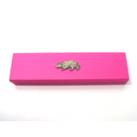 Border Collie Motif on Pink Wooden Pen Box with 2 Pens