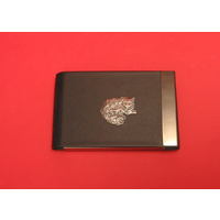 Long Haired Cat Pewter Motif on Black Card Holder