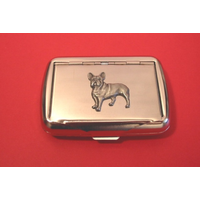 French Bulldog Motif on Polished Stainless Steel Tobacco Tin