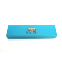 Grazing Pony Motif on Turquoise Wooden Pen Box with 2 Pens