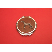 Greyhound on Brown Round Compact Mirror Useful Gift
