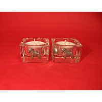 Airedale Motif On Square Glass Tea Light Holders Xmas Gift
