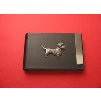 Dandie Dinmont Dog Pewter Motif on Black Card Holder Dog