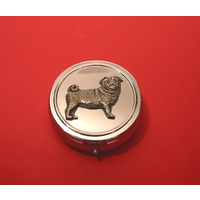 Pug Dog Pewter Motif On Round Chrome Mint / Pill Box