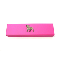 Staffordshire Bull Terrier on Pink Wooden Pen Box with 2 Pens