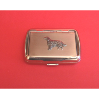 Irish Setter Motif on Polished Stainless Steel Tobacco Tin