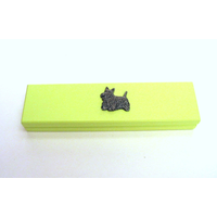 Scottish Terrier Motif on Lime Wooden Pen Box with 2 Pens