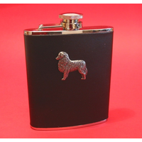 Australian Shepherd 6oz Black Leather Hip Flask Dog Gift